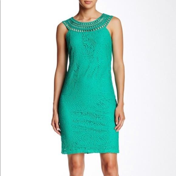 Eliza J teal lace overlay sleeveless shift dress